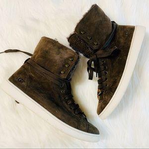 UGG Starlyn Hi-Top Leather & Fur Sneaker